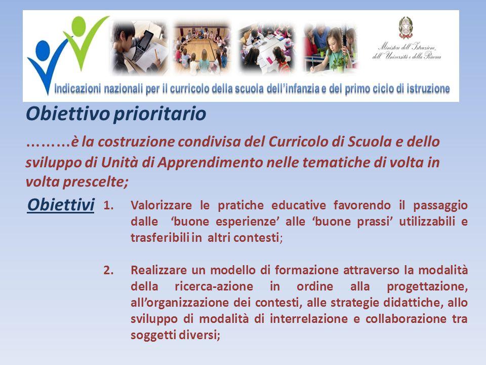 Obiettivo prioritario ………è la costruzione condivisa del Curricolo di Scuola e dello sviluppo di Unità di Apprendimento nelle tematiche di volta in volta prescelte;
