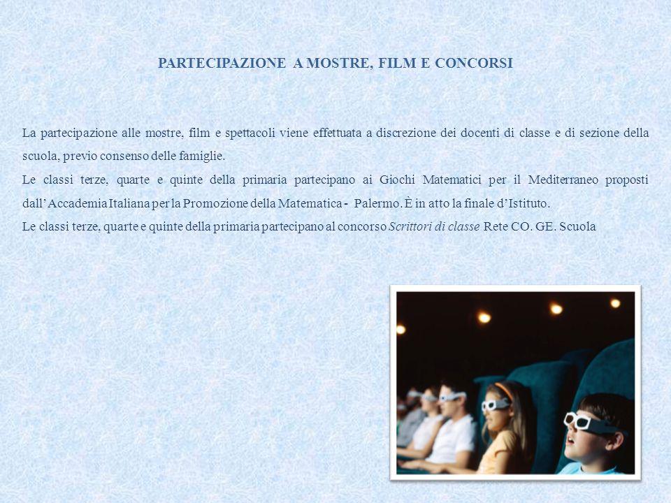 PARTECIPAZIONE A MOSTRE, FILM E CONCORSI