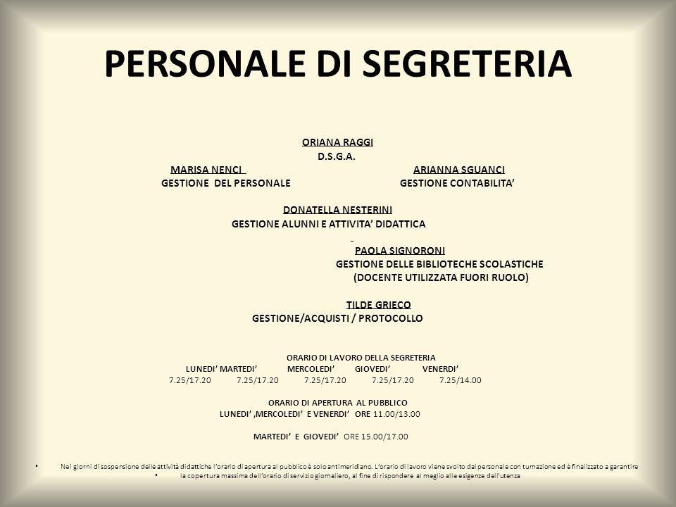 PERSONALE DI SEGRETERIA