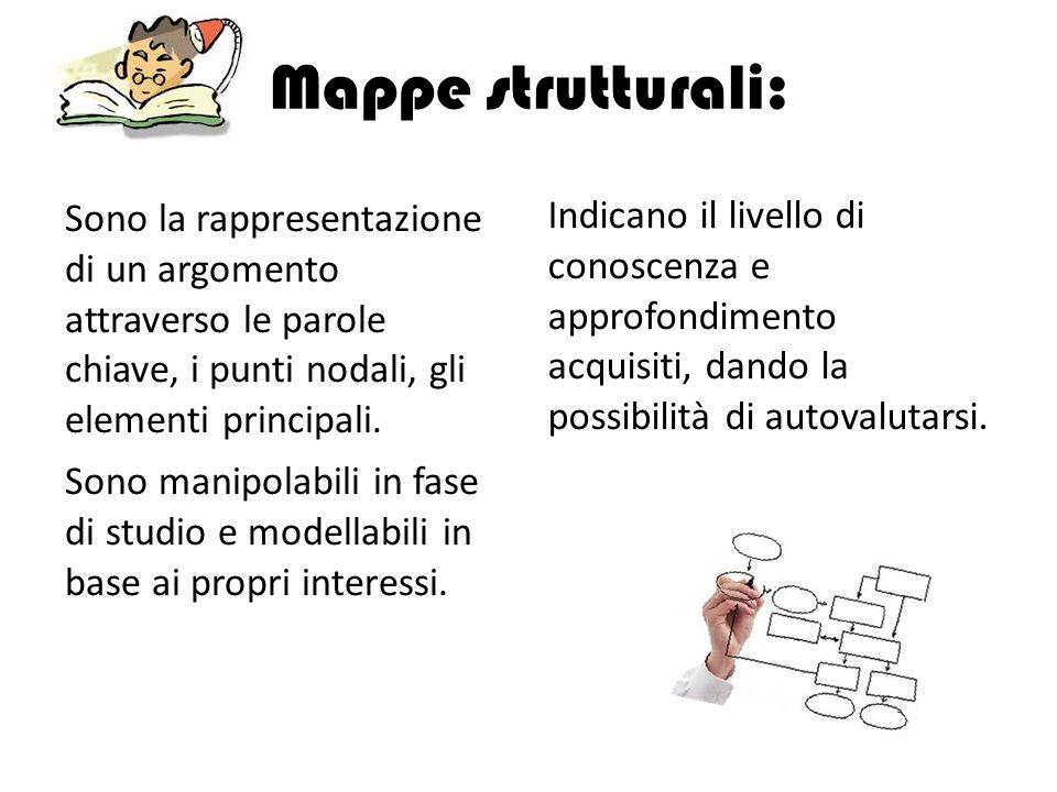 Mappe strutturali: Sono la rappresentazione di un argomento attraverso le parole chiave, i punti nodali, gli elementi principali.