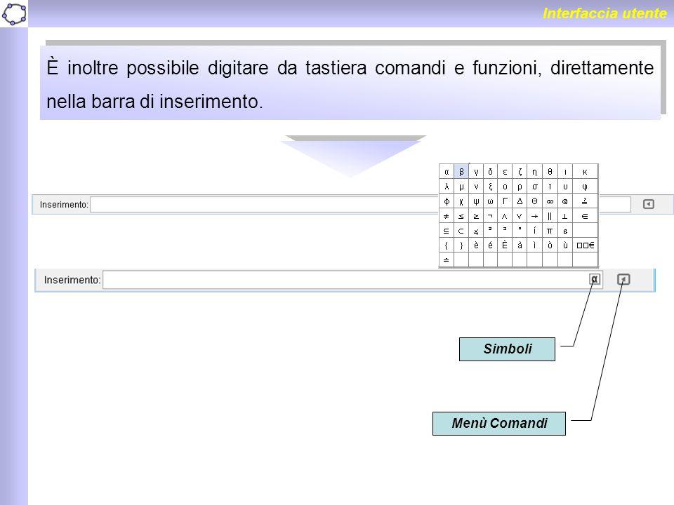 Interfaccia utente È inoltre possibile digitare da tastiera comandi e funzioni, direttamente nella barra di inserimento.
