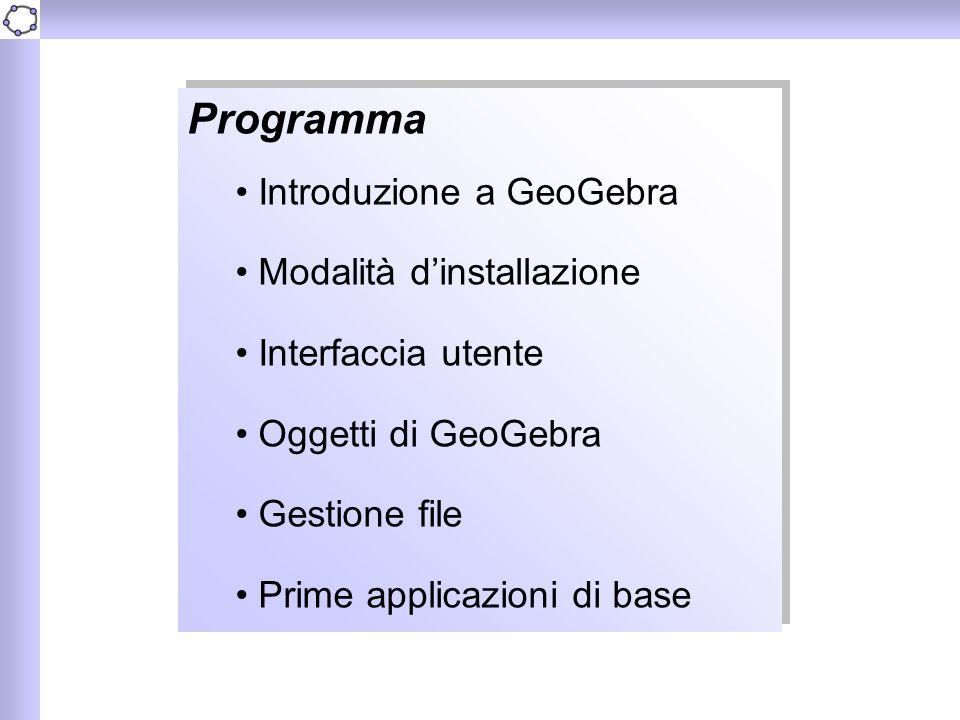 Programma Introduzione a GeoGebra Modalità d'installazione