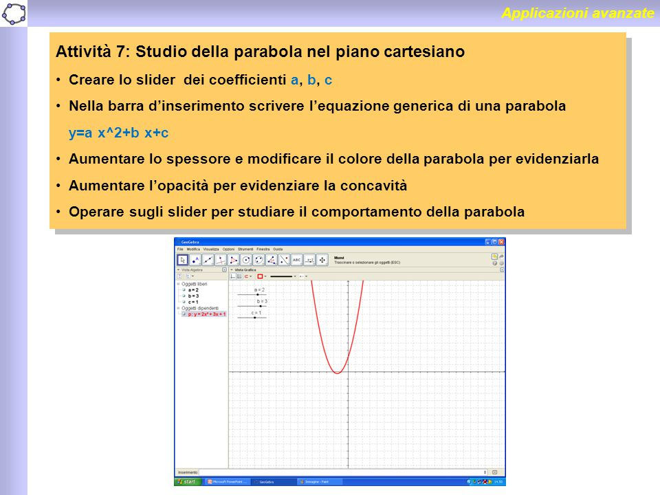 Attività 7: Studio della parabola nel piano cartesiano