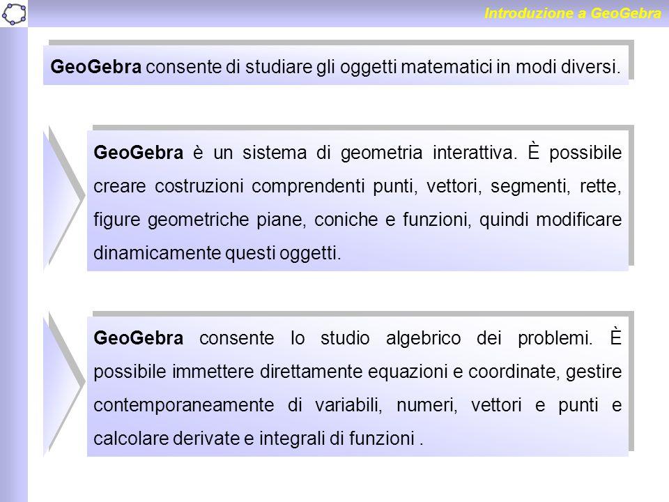 GeoGebra consente di studiare gli oggetti matematici in modi diversi.