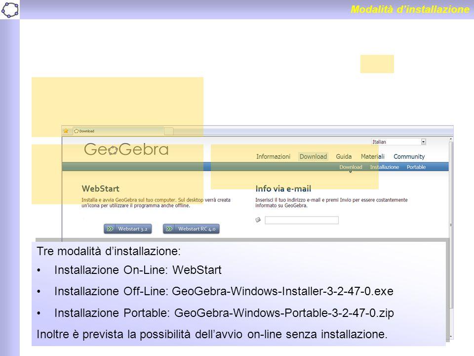 Tre modalità d'installazione: Installazione On-Line: WebStart
