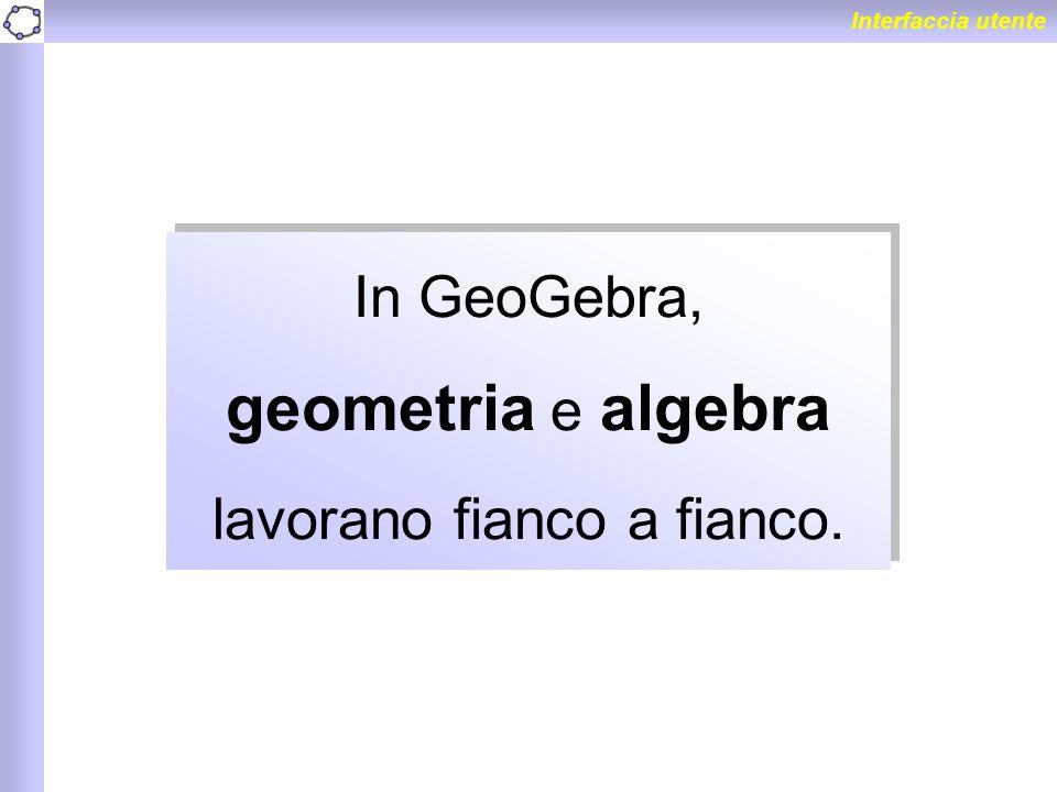 In GeoGebra, geometria e algebra lavorano fianco a fianco.