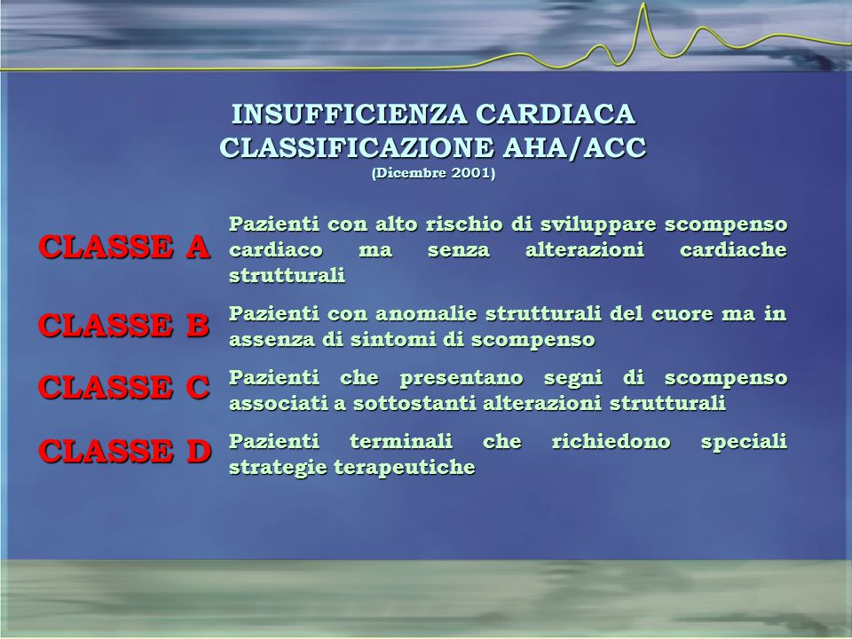 INSUFFICIENZA CARDIACA CLASSIFICAZIONE AHA/ACC (Dicembre 2001)