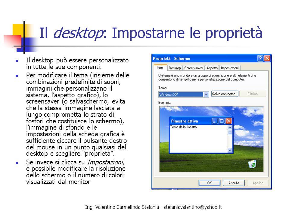 Il desktop: Impostarne le proprietà