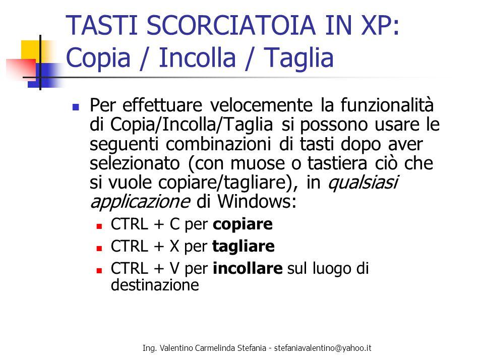 TASTI SCORCIATOIA IN XP: Copia / Incolla / Taglia