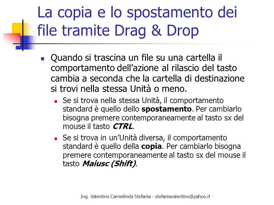 La copia e lo spostamento dei file tramite Drag & Drop