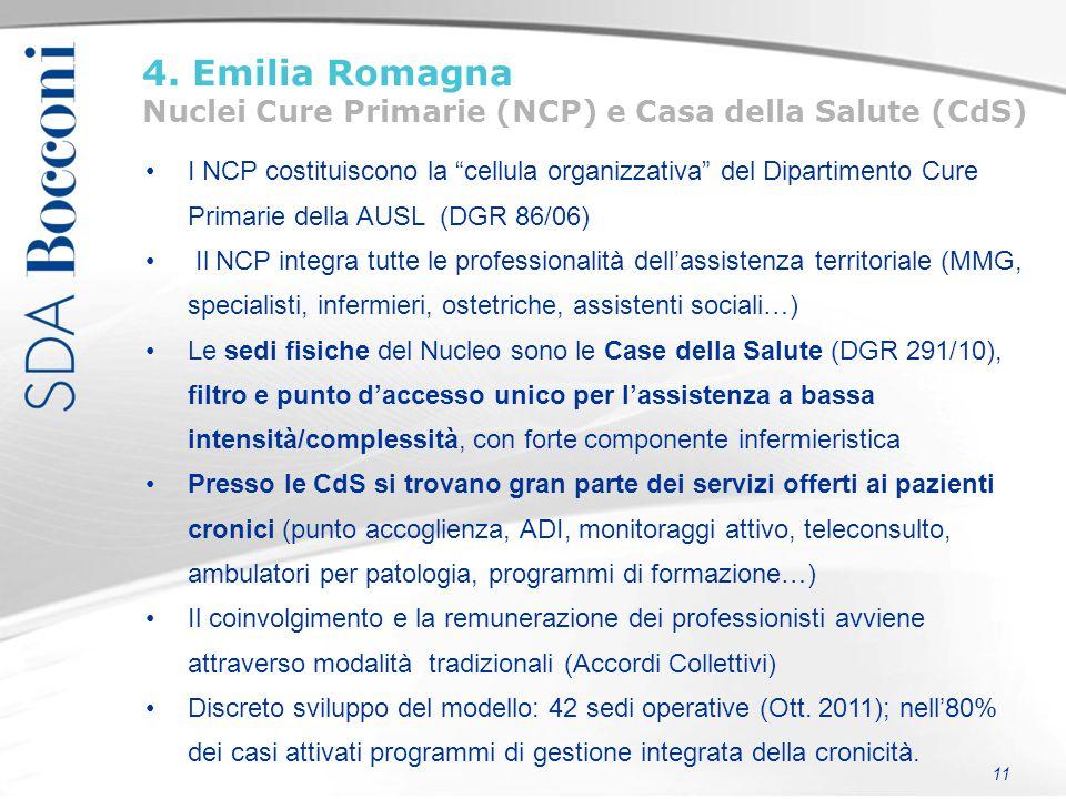 4. Emilia Romagna Nuclei Cure Primarie (NCP) e Casa della Salute (CdS)