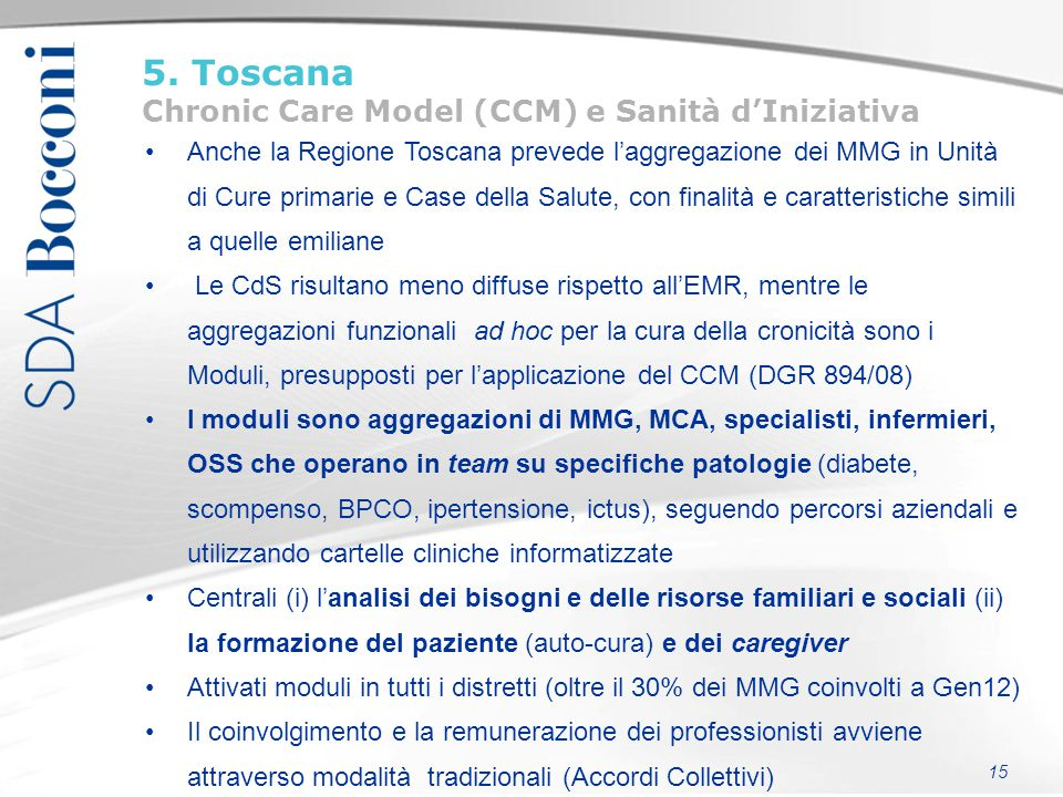 5. Toscana Chronic Care Model (CCM) e Sanità d'Iniziativa