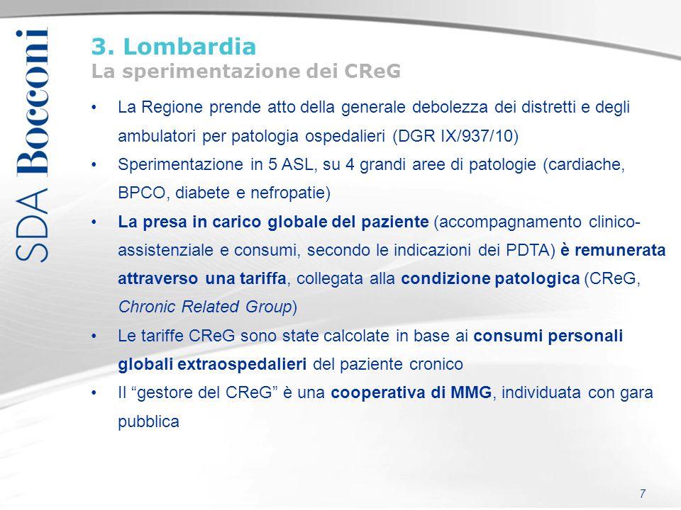 3. Lombardia La sperimentazione dei CReG