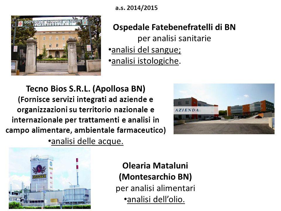 Ospedale Fatebenefratelli di BN per analisi sanitarie
