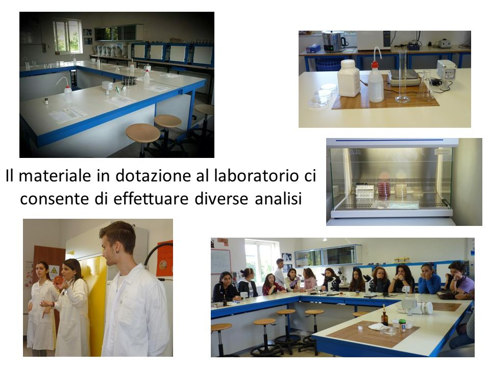 Il materiale in dotazione al laboratorio ci consente di effettuare diverse analisi