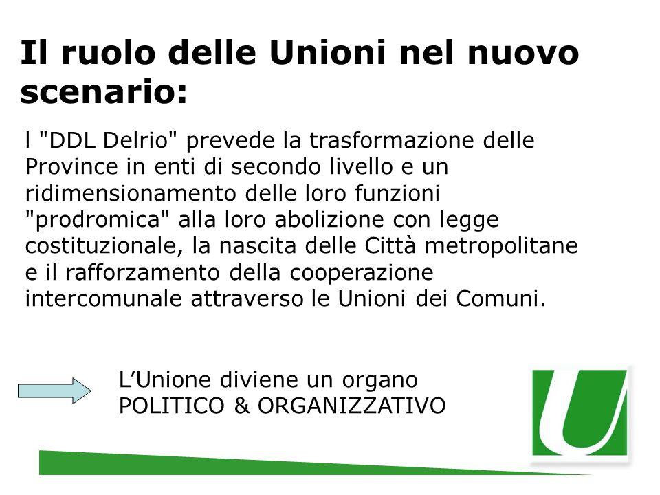 Il ruolo delle Unioni nel nuovo scenario: