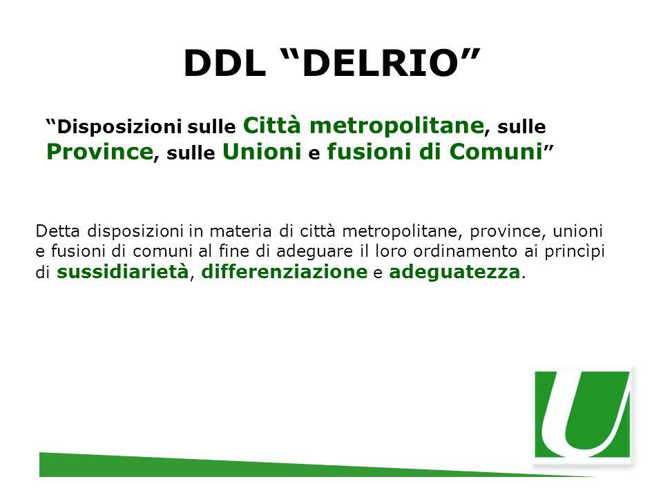 DDL DELRIO Disposizioni sulle Città metropolitane, sulle Province, sulle Unioni e fusioni di Comuni
