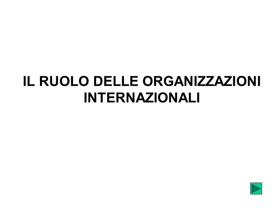 IL RUOLO DELLE ORGANIZZAZIONI INTERNAZIONALI