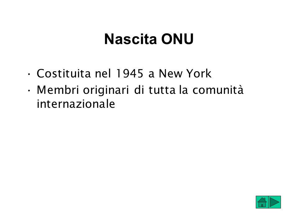 Nascita ONU Costituita nel 1945 a New York