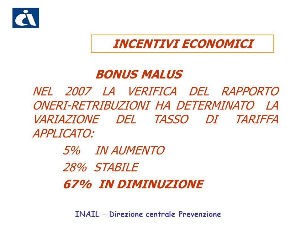 INCENTIVI ECONOMICI BONUS MALUS