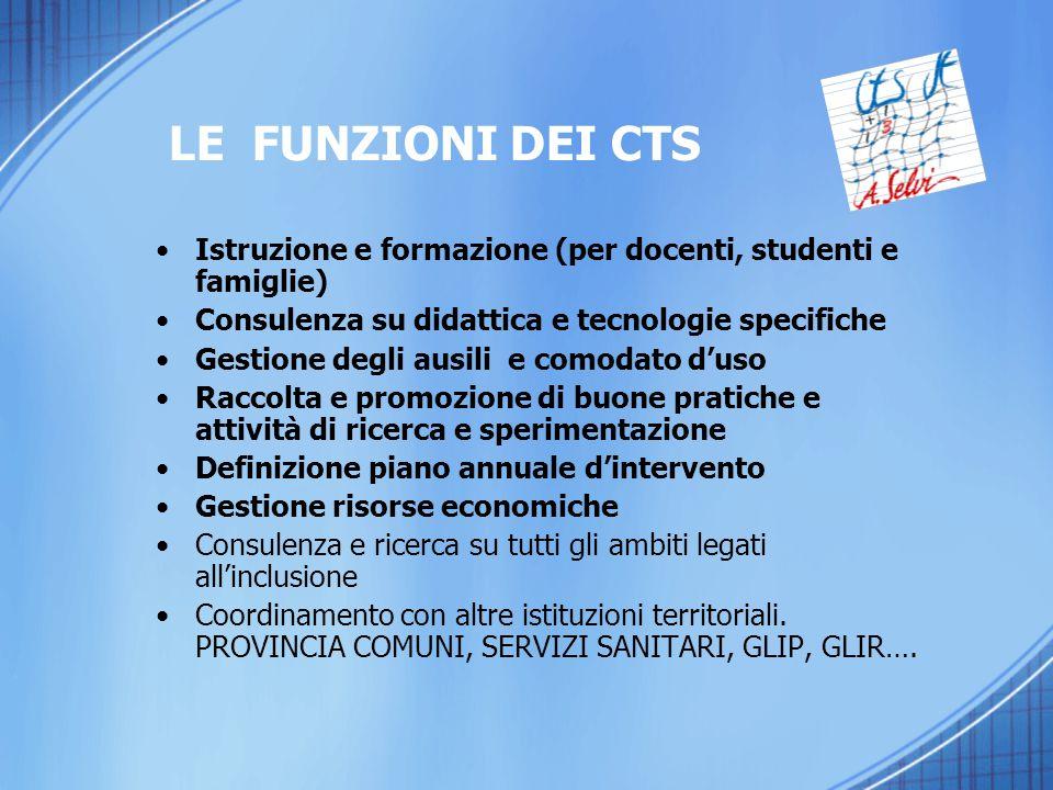 LE FUNZIONI DEI CTS Istruzione e formazione (per docenti, studenti e famiglie) Consulenza su didattica e tecnologie specifiche.