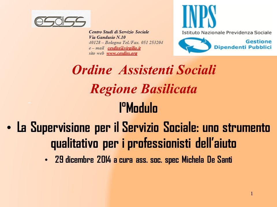 Ordine Assistenti Sociali Regione Basilicata I°Modulo
