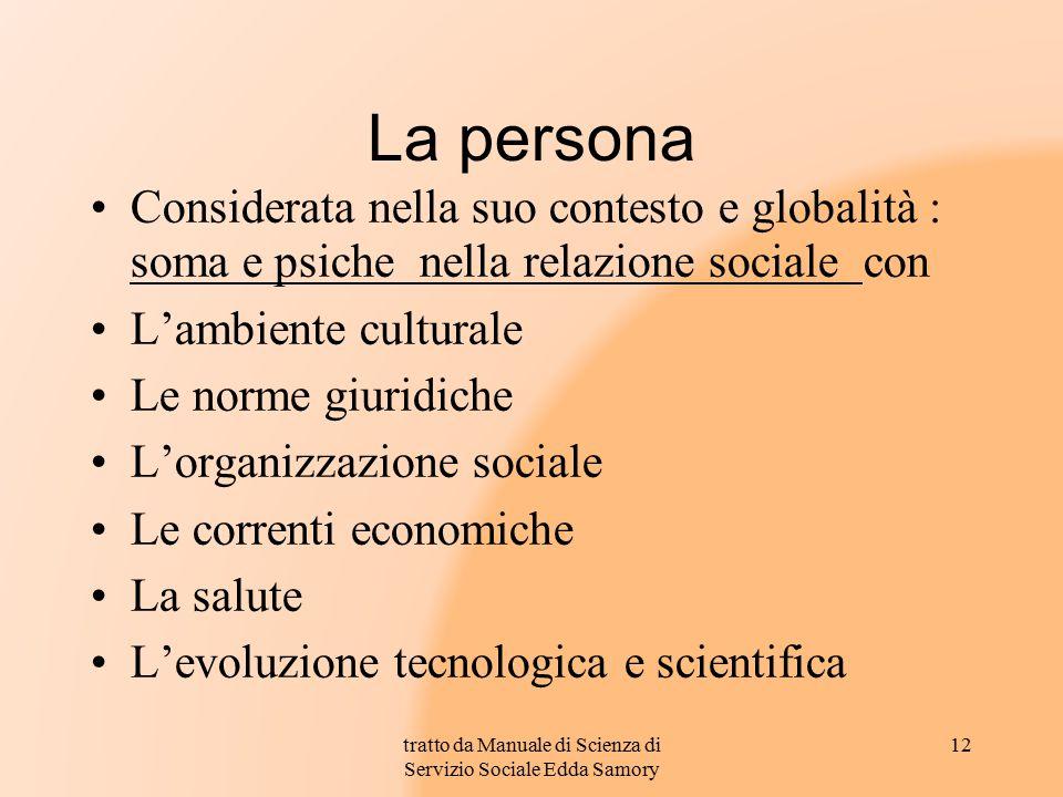 tratto da Manuale di Scienza di Servizio Sociale Edda Samory