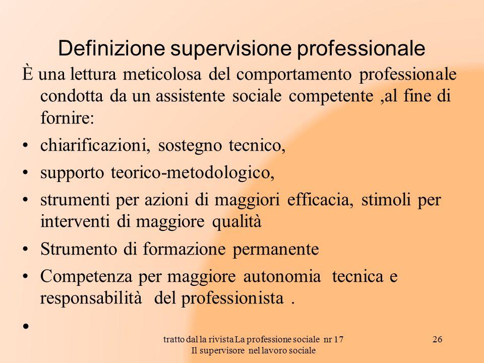 Definizione supervisione professionale