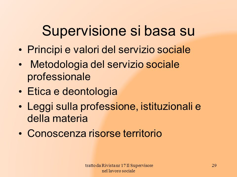 Supervisione si basa su