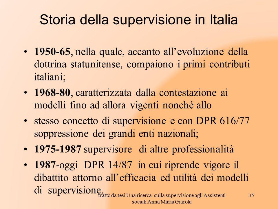Storia della supervisione in Italia