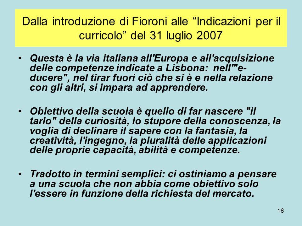 Dalla introduzione di Fioroni alle Indicazioni per il curricolo del 31 luglio 2007