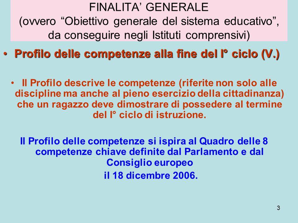 Profilo delle competenze alla fine del I° ciclo (V.)