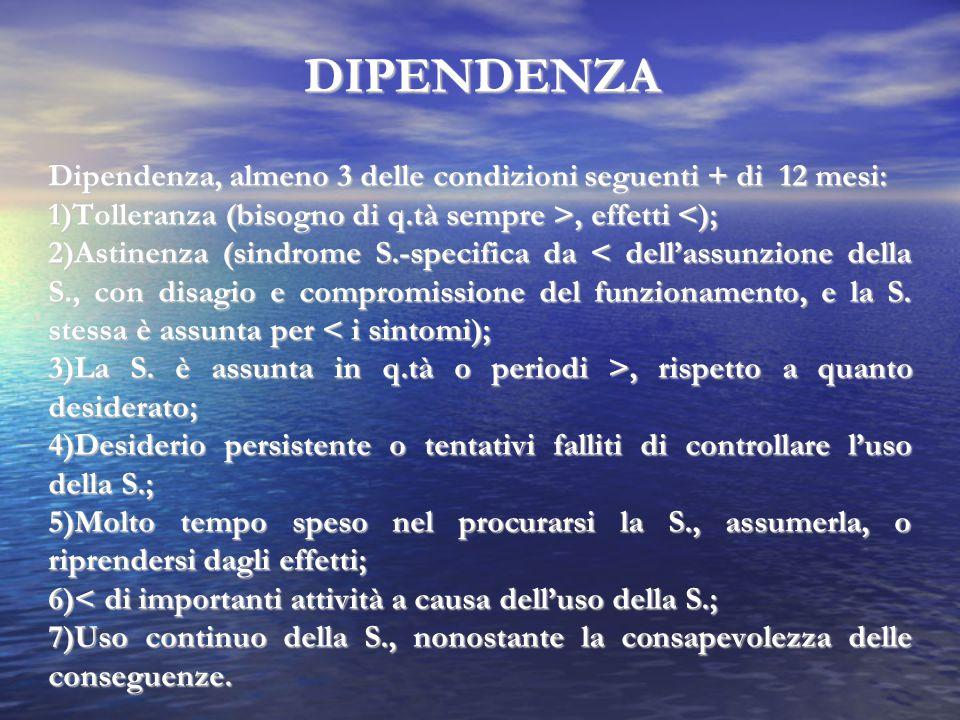 DIPENDENZA Dipendenza, almeno 3 delle condizioni seguenti + di 12 mesi: 1)Tolleranza (bisogno di q.tà sempre >, effetti <);
