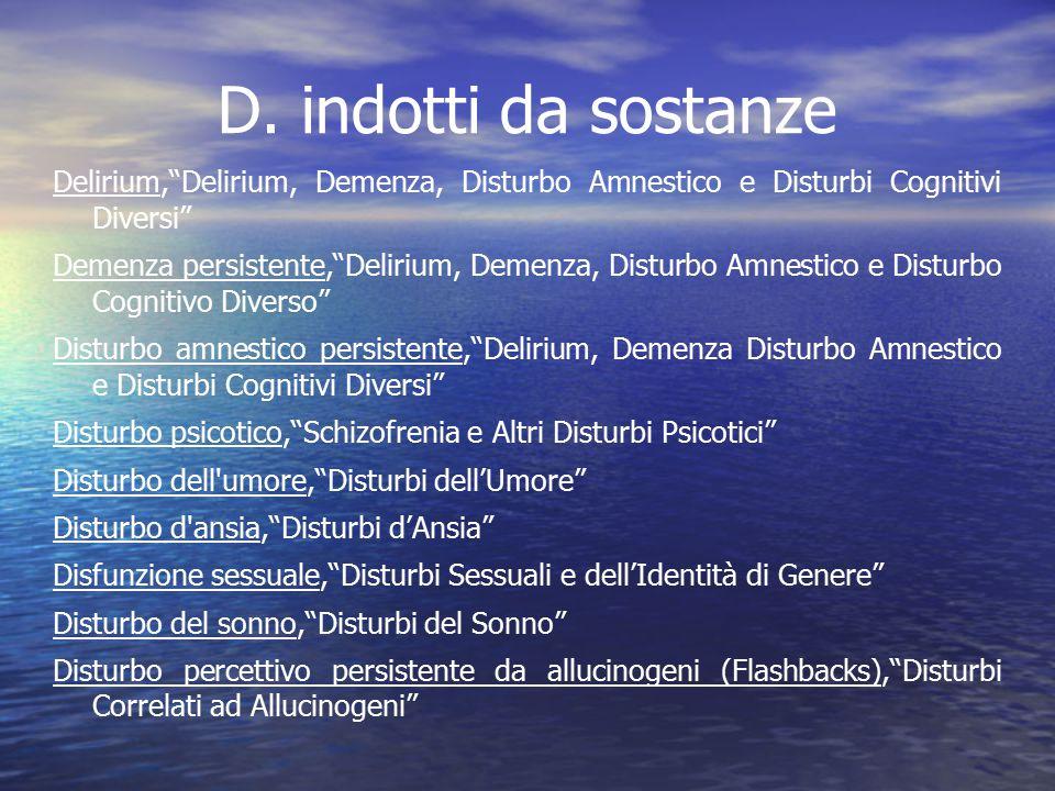 D. indotti da sostanze Delirium, Delirium, Demenza, Disturbo Amnestico e Disturbi Cognitivi Diversi