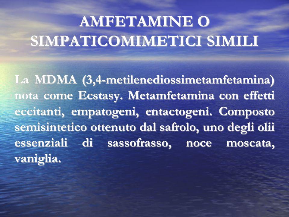 AMFETAMINE O SIMPATICOMIMETICI SIMILI