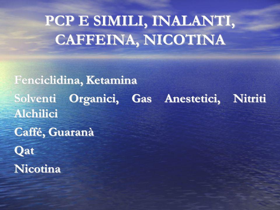 PCP E SIMILI, INALANTI, CAFFEINA, NICOTINA