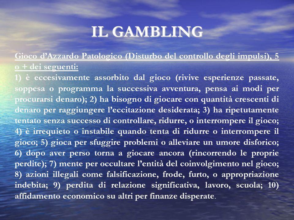 IL GAMBLING Gioco d'Azzardo Patologico (Disturbo del controllo degli impulsi), 5 o + dei seguenti: