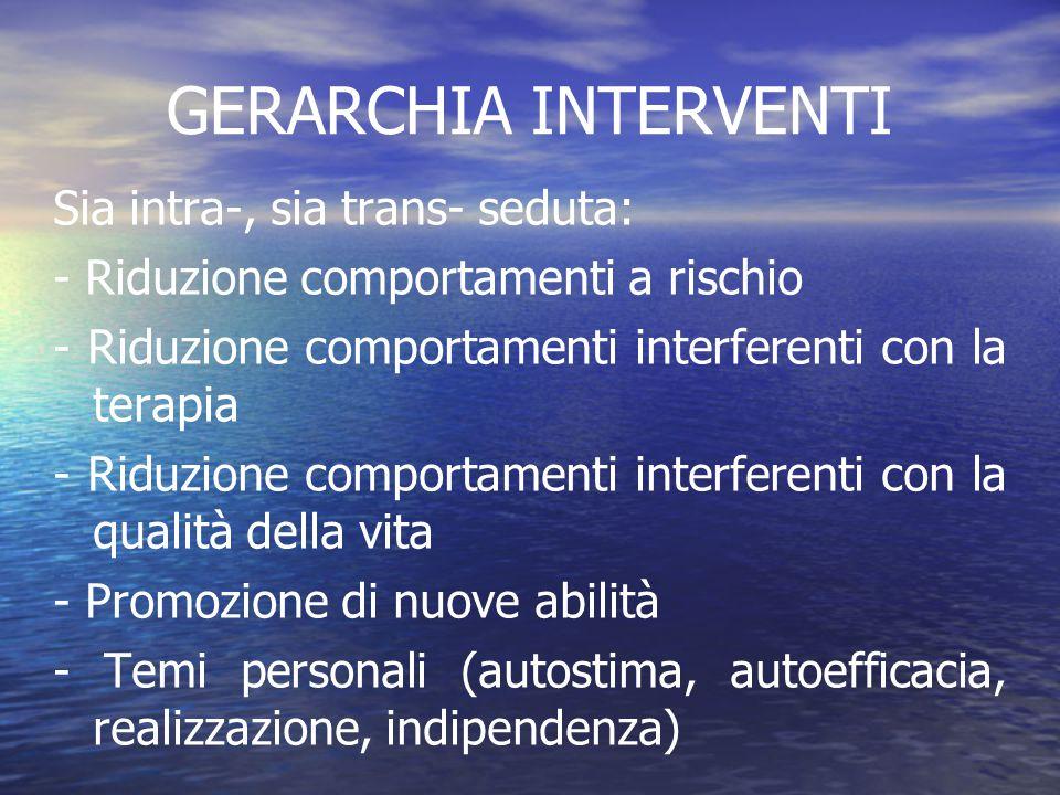 GERARCHIA INTERVENTI Sia intra-, sia trans- seduta: