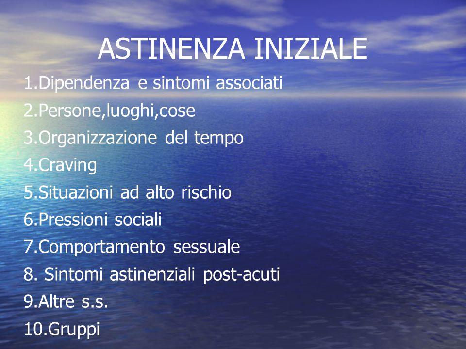 ASTINENZA INIZIALE 1.Dipendenza e sintomi associati