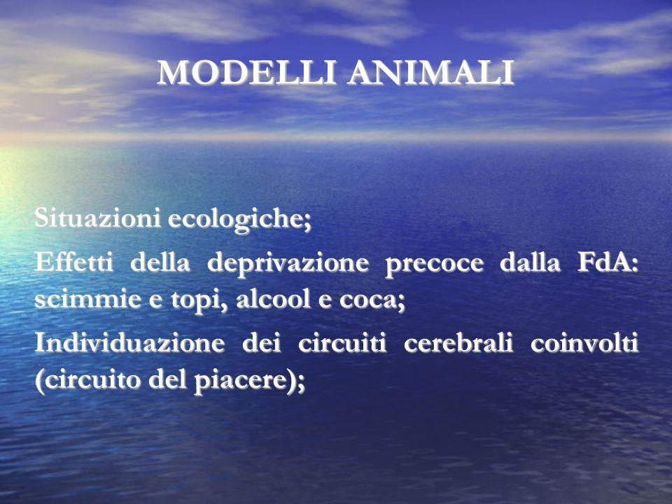MODELLI ANIMALI Situazioni ecologiche;