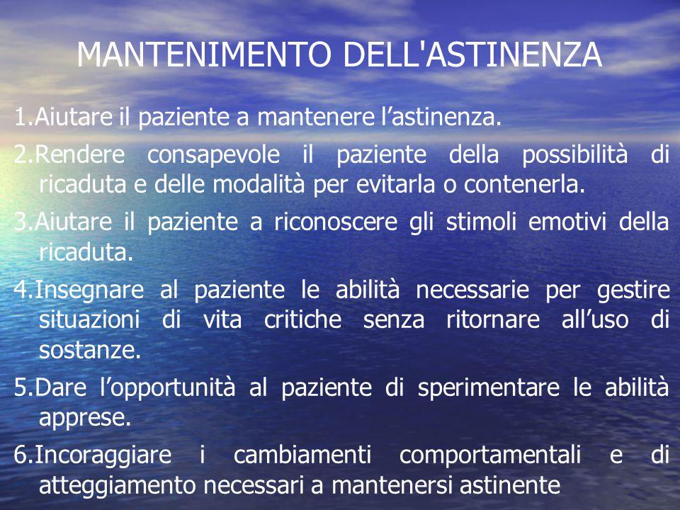 MANTENIMENTO DELL ASTINENZA