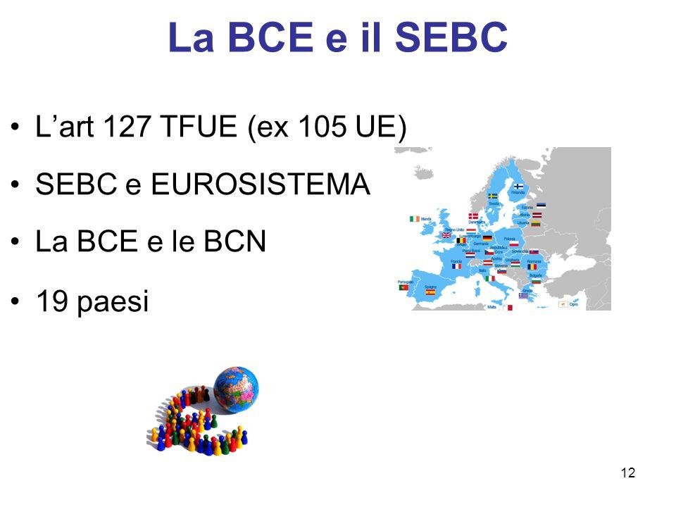 La BCE e il SEBC L'art 127 TFUE (ex 105 UE) SEBC e EUROSISTEMA