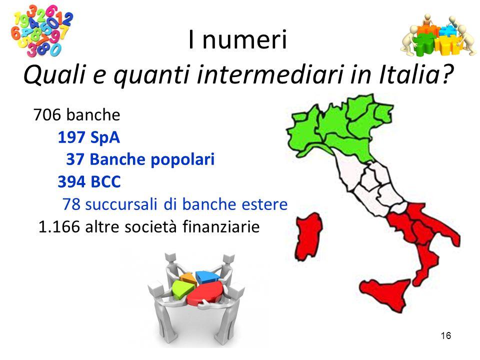 I numeri Quali e quanti intermediari in Italia