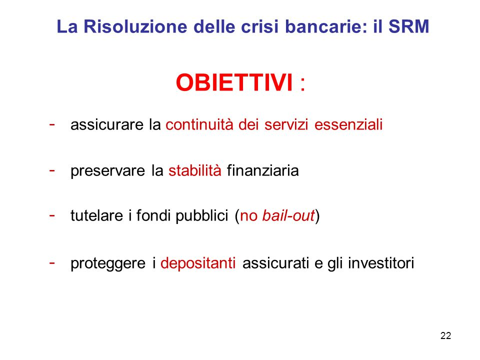 La Risoluzione delle crisi bancarie: il SRM