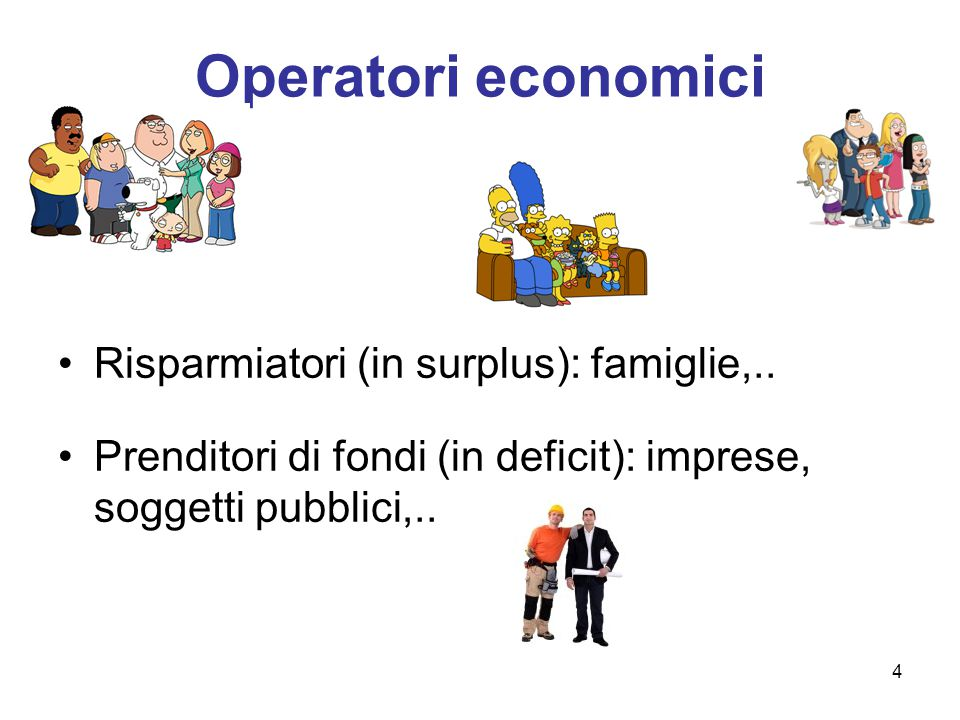 Operatori economici Risparmiatori (in surplus): famiglie,..