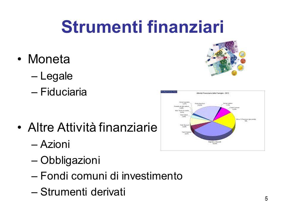 Strumenti finanziari Moneta Altre Attività finanziarie Legale