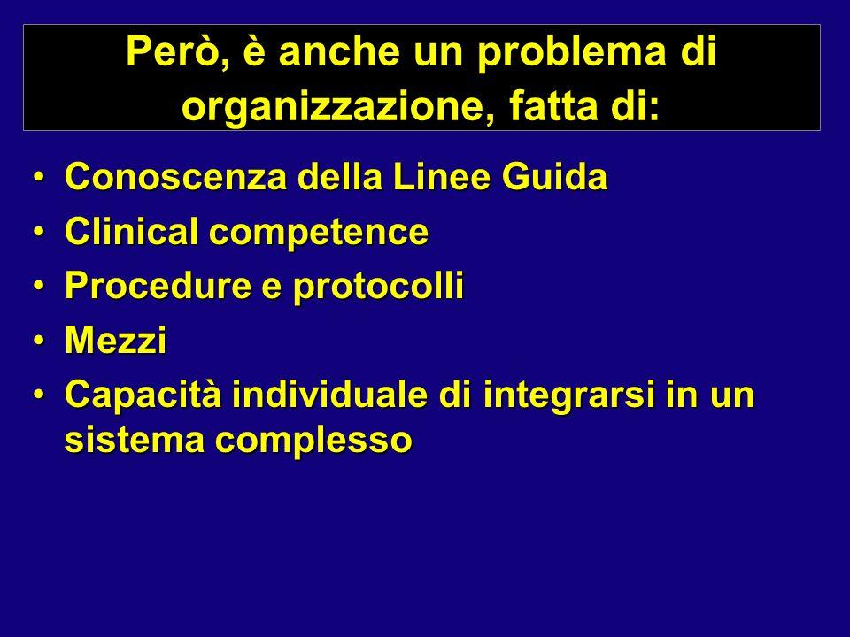 Però, è anche un problema di organizzazione, fatta di: