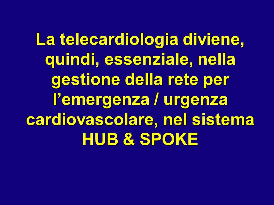 La telecardiologia diviene, quindi, essenziale, nella gestione della rete per l'emergenza / urgenza cardiovascolare, nel sistema HUB & SPOKE