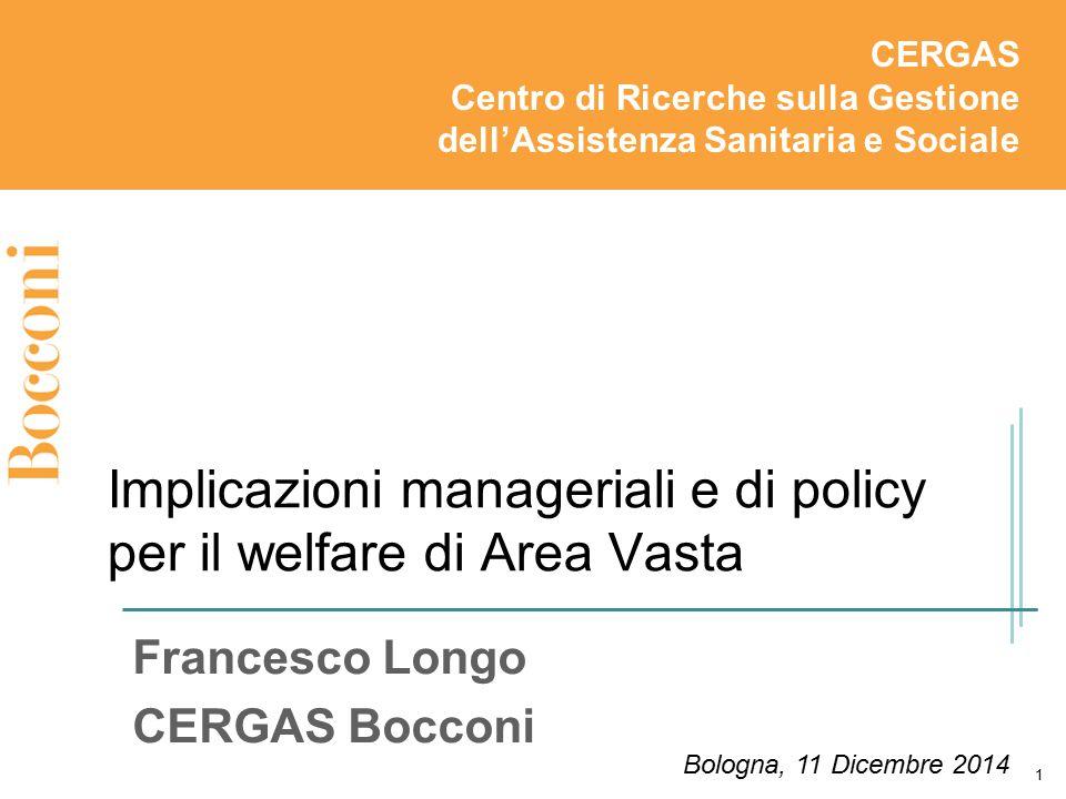 Implicazioni manageriali e di policy per il welfare di Area Vasta