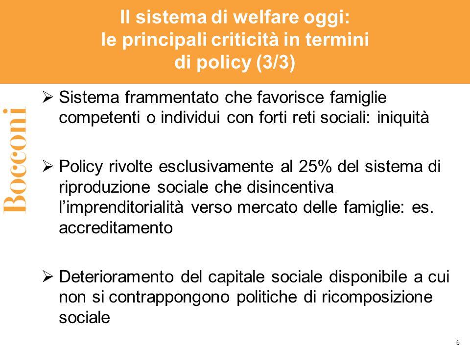 Il sistema di welfare oggi: le principali criticità in termini di policy (3/3)